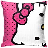 Bxad Housse de coussin Hello Kitty Rose Pois Taie d'oreiller pour canapé-lit, chaise, décoration de la maison