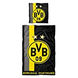 Borussia Dortmund,Linge de lit avec motif à rayures, noir-jaune, 135x200