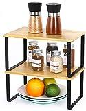 LIANTRAL Étagère en bambou dans une armoire de cuisine - Organiseur extensible empilable dans un placard - Solution de rangement pour épices, verres, herbes