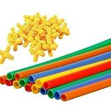 TOYMYTOY 300 pcs pailles connecteurs jouet paille constructeur emboîtement ingénierie jouets pour enfants éducatifs jouets