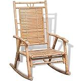 vidaXL Chaise à Bascule en Bambou Fauteuil Jardin Véranda Extérieur Intérieur