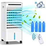 Refroidisseur d'air portable SUPALAK, ventilateur d'eau mobile, humidificateur avec roues et réservoir d'eau double 5L, 3 modes, 3 vitesses, télécommande, minuterie