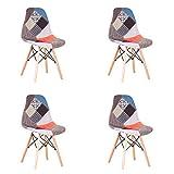 EGOONM Lot de 4 Chaise de Salle à Manger Multicolor Patchwork,Chaises en Tissu de Lin Loisirs Salon,Chaises avec Dossier à Coussin Souple (Rouge)