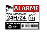 Lot de 8 Autocollants Dissuasifs « Alarme Vidéo Surveillance » Anti cambriolage pour Maison Immeuble Commerce Garage. Stickers Vidéo Surveillance de Qualité Professionnelle (Code Barre)