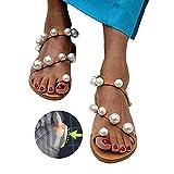WYZXR Version Améliorée Femmes Confortables Sandales D'été À Bout Ouvert Perle Strass Plat Tongs Dames Plage Voyage Rome Pantoufles pour La Correction des Gros Orteils,Marron,43