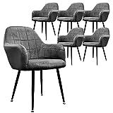ECD Germany Lot de 6 Chaises de Salle à Manger - Assise Siège Rembourrée en Velours - Structure en Métal - Fauteuil avec Accoudoirs - Chaise de Salon - Chaises de Réception pour Bureau - Gris Foncé