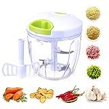TOCYORIC Mini hachoir manuel à tirer, 5 lames de 1000 ml, hachoir à légumes/robot de nourriture/mixeur pour hacher la viande, les fruits, les légumes, les noix, les herbes, les oignons