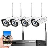 Caméra de Surveillance Kit,1296P Camera WiFi Exterieur/Intérieux,8CH+4PCS Système de Wireless vidéo Surveillance sans Fil,Détection de Mouvement,Vision Nocturne 30M,Etanche IP66,IR Vision (sans HDD)