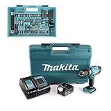 MAKITA DHP453FX12 Perceuse visseuse à percussion + 1 batterie 18V 3Ah Li-ion + chargeur + coffret avec 74 accessoires