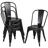 Yaheetech 4 x Chaise de Salle à Manger Industrielle en Métal 45cm H Max. 150 kg pour Cuisine Salon Bistro Jardin Terrasse Noir