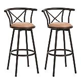 Homy Casa Lot de 2 tabourets de Bar industriels de Style Chaise Vintage avec Repose-Pieds Design en Mousse rembourrée de 29 Pouces