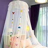 SHIKUN rond dôme lit à baldaquin moustiquaire tente de lit avec feutre dessin animé patch rideau de lit pour enfants décoration de chambre d'enfants pour garçons, filles, lit d'enfants