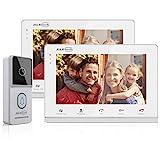 JSLBTech Visiophone Système,7 Pouces Vidéo Sonnette Version Nuit 1-caméra 2-moniteurs,Audio Bidirectionnel,Déverrouillage à Distance,Surveillance,Enregistrement Automatique/Instantané