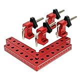 QWORK Lot de 2 14 x 14 cm Règle de positionnement à angle droit à 90 degrés en forme de L, en alliage d'aluminium pour armoires, tiroirs