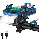 SEWOBYE Lampe Vélo USB Rechargeable, 550 Lumen Lampe Velo LED Puissantes avec Alarme et Support de Téléphone, Lampe Frontale Rechargeable pour VTT, Vélo de Route et Scooter … (Sky Blue)