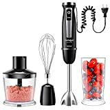 Coziselect Mixeur Plongeant, 800W, 4 en 1 Mélangeur à Main, Ensemble d'accessoires en 3 Parties, Convient à la Préparation d'aliments pour Bébés, Salades, Soupes et légumes, Noir