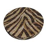 MaJack Housse de tabouret rond lavable et respirante avec motif zèbre métallisé Bronze doré cuivré bronze/bronze/bronze/bronze/bronze/tabouret élastique 33 cm