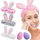YMHPRIDE Spa Headband - 3 pièces bandeau de lapin pour filles femmes joli bandeau élastique doux Carol avec ensemble de mixeur éponge de maquillage, bandeaux de maquillage bandeau de douche