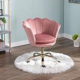 Wahson Chaise de bureau pivotante en velours Fauteuil de Bureau réglable en hauteur Chaise pour chambre à coucher/coiffeuse (Rose)