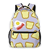 AOOEDM Sac à dos pour hommes, femmes, pain grillé, motif d'œufs de bacon, sacs à dos décontractés, sacs à dos de voyage, sac à bandoulière