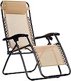 Amazon Basics Chaise de camping pliable zéro gravité Beige