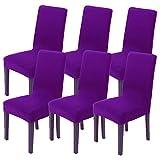 Littleprins Lot de 6 housses de chaise élastiques pour chaises basculantes - Pour salle à manger, mariage, fête, banquet (violet)