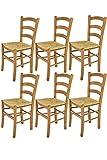 Tommychairs - Set 6 chaises Venice pour Cuisine, Bar et Salle à Manger, Robuste Structure en Bois de hêtre peindré en Couleur chêne et Assise en Paille
