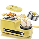 Zhicaikeji Grille-Pain Multi-Fonctions Grille-Pain Petit-déjeuner Machine Home 2 Tranches Toast Pilote Sandwich Machine avec Frying Pan (Color : Yellow, Size : 480x192x195mm)