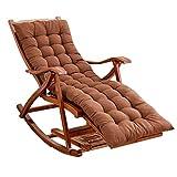 LHNLY-Inclinable Rocking Chair pour Salon de Jardin Balcon extérieur |Chaise Relax Pliable pour Enfant Adulte avec Coussins Marron |Chaises Longues pour Bronzer