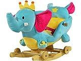 Dunjo® Eléphant à Bascule avec Fauteuil,Ceinture de Maintien,roulettes et Jolies mélodies enfantines.( modèle 2020)
