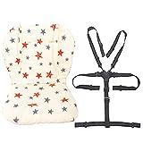 Coussin doublure de siège pour poussette/chaise haute pour bébé Tapis de protection pour siège Sangles pour chaise haute et résistantes (harnais à 5 points) 1 costume (Étoiles)