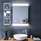 SIRHONA Miroir de Salle de Bains 70x50cm avec éclairage LED Miroir Cosmétiques Mural Lumière Illumination avec Commande par Effleurement