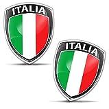 Biomar Labs® 2 x 3D Flexibles Autocollant Badge Stickers Drapeau National Italien Italia Italy Emblème Voiture Auto Moto F 148