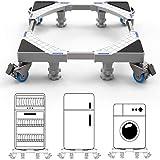 DEWEL Support de machine à laver avec 4 Roues et 4 Pieds Base de Réfrigérateur de sèche-linge Réglable 45cm-69cm Charge 300 kg Avec l'effet anti-vibration et réduction du bruit