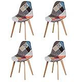 Lot de 4 chaises de salle à manger, tapissées, patchwork rétro - Pour salle à manger, cuisine, chambre à coucher, bureau