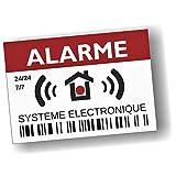 Decooo.be - Autocollants dissuasifs Alarme - Système électronique - Lot de 12 - Dimensions 7,4 x 5,2 cm