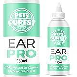 Pets Purest 100% Naturel Nettoyant Oreilles Chiens (250 ML) Il arrête Les démangeaisons, Les hochements de tête et Les odeurs. Recommandé par Les vétérinaires. Les Chiens Chats avec acariens, levures