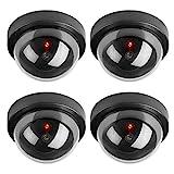 Hengu Caméras factices, Fausse de Sécurité Caméra Dôme CCTV avec LED Clignotant Lumière pour Les Entreprises Magasins Accueil, Usage Intérieur Extérieur (4 Pack)
