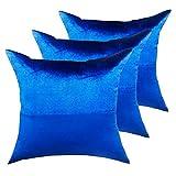 casamia Lot de 3 coussins décoratifs pour canapé - Velours - 45 x 45 cm - Double couche - Bleu roi