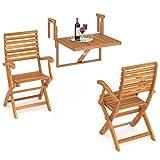 INTERBUILD REAL WOOD Ensemble de Fauteuils Balcon et Casino Toronto (1 Table + 2 chaises), Teck Doré