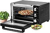 Mini four 21 l | 1200 W | Four à pizza | Éclairage intérieur | Avec plaque de cuisson et grille de cuisson | Mini four | Mini four | Mini four | Minuteur 60 min (21 L argent)