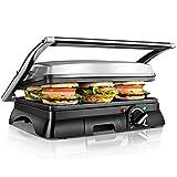 Aigostar Samson 30KLU - 2000W Appareil à croque monsieur, grill à sandwich et panini multifonctions. Très larges plaques antiadhésives et ouverture à 180º. Bac à graisse amovible.