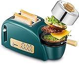 Grille-pain 1200W, multifonctions Petit-déjeuner Machine avec Mini et Frying Pan plaque cuisson à la vapeur, for Toast Grillé pain Chauffage œufs durs bacon frit crêpes, 5 réglage de la vitesse hfhdqp