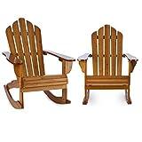blumfeldt Rushmore Set 2 fauteuils à Bascule Jardin (Style Adirondack, Dossier Haut, Assise Profonde et Longs accoudoirs, lasure de Protection) - Marron