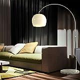 CCLIFE Lampe Lampadaire à arc salon courbée - Lampe arceau moderne en chrome - Lampadaire sur pied marbre- Couleurs au choix: Blanc/Orange, Couleur:Blanc