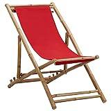 Bigto Chaise longue d'extérieur en bambou et toile Rouge 60 x (108-123) x (62-93) cm