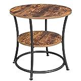 VASAGLE Petite Table d'appoint ronde, Table console, Bout de canapé, Table de chevet, 2 niveaux, pour salon, chambre, montage facile, cadre en acierl, style industriel, Marron Rustique et Noir LET56BX