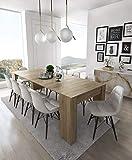Home Innovation - Table Console Extensible, rectangulaire avec rallonges, jusqu'à 237 cm, pour Salle à Manger et séjour, chêne Clair brossé. Jusqu´à 10 Personnes. Dimensions fermée : 90x50x78 cm.