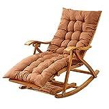 WYDM Chaise Longue d'extérieur Pliable, Chaise à Bascule en Bambou, Chaise Longue de Jardin, Chaise de détente avec Repose-Pieds Extensible, Massage des Pieds, Fauteuil Siesta, avec Coussins
