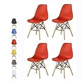 Lot de 4 chaises au Design Moderne de Style scandinave, Lia par MCC [Rouge/Blanc/Jaune/Gris/Noir] (Rouge)
